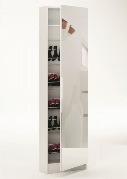 Schuhschrank Spiegelschuhschrank Schuhregal Schuhkommode Zapatero weiß 1 Spiegel 305397