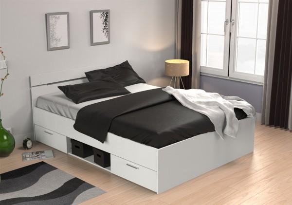 Bett Michigan 140x200 cm weiß mit 2 Schubkästen, 1 Fach 471707