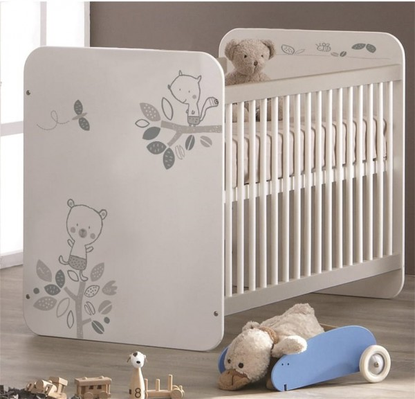 Babybett Kinderbett Gitterbett Bär weiß 60 x 120 cm  304802