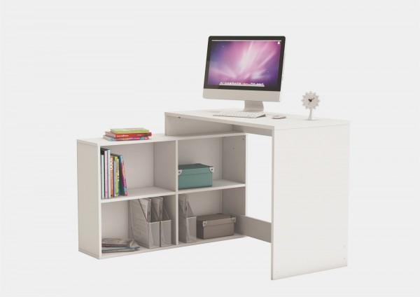 Eckschreibtisch Corner Computertisch Schreibtisch mit 4 Fächern Dekor weiß 254460