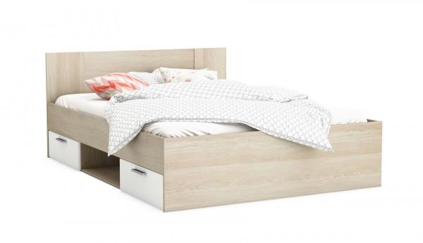 Bett Detroit 140x200 cm Sonama Eiche/weiß Dekor  mit 2 Schubkästen, 1 Fach 400988