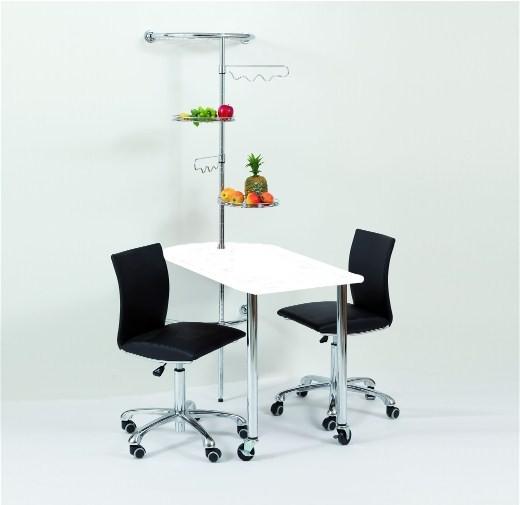 Wandtisch mit Stange und Ablagen