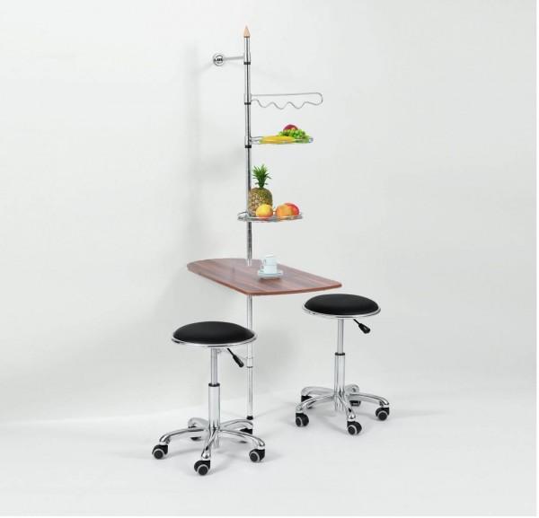 Wandtisch rollbar mit Stange und Ablage