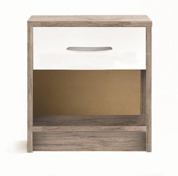 nachttisch isis sanremo eiche weiss nachtkommoden. Black Bedroom Furniture Sets. Home Design Ideas