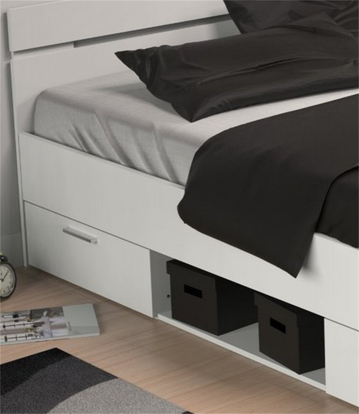 bett michigan 140x200 cm wei mit 2 schubk sten 1 fach. Black Bedroom Furniture Sets. Home Design Ideas